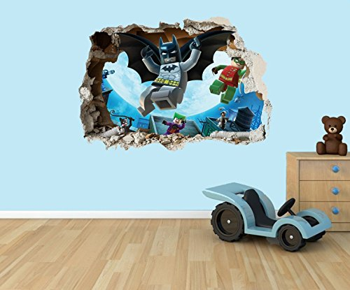 Price comparison product image Lego Batman 3D effect smashed hole in wall vinyl sticker - suitable for Kids Bedroom walls,  doors and glass windows. (Extra Large 80 x 55cm)