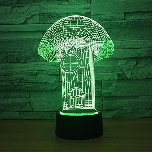 Mushroom House Visual 3D Lampade da tavolo Usb Led Night Night Light Lampada da tavolo a 7 colori incantevoli
