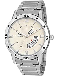 WM Day Date Collection Off White Dial Silver Stainless Steel Metal Strap Watch For Men And Boys DDWM-040