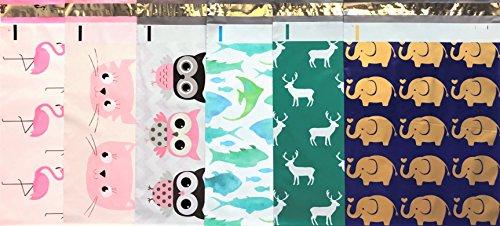 Designer Poly Versandtaschen 10x 13: Tier Mix Pack ~ pink flamingo, Pink Cat, Eule, marine Fisch, Elk Deer, Gold Elefant; bedruckt selbstdichtender Versand Poly Umschläge Tasche (30Animal Mix Pack)
