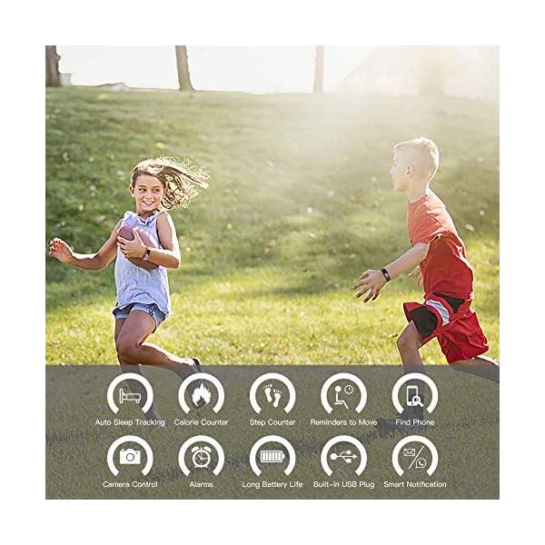 MISSJJ Reloj Inteligente para Mujer Hombre Niños, Pulsera Actividad Impermeable IP67, Podómetro, Control Remoto de Cámara, Recordatorio Sedentario 2