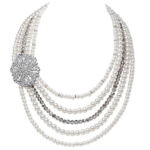 ArtiDeco 1920s Halskette Damen Imitation Perlen Kette Retro 20er Jahre Gatsby Damen Halskette mit Kristall Blume Brosche und Perlen Ohrringe (Stil 1)
