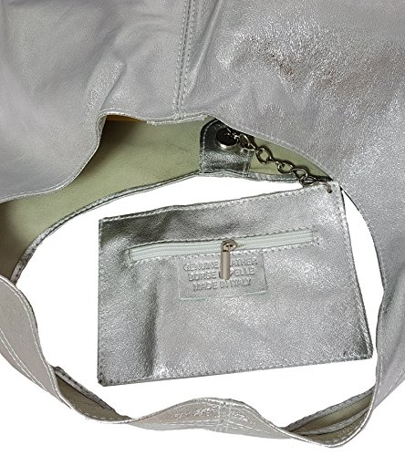 FreyFashion - Made in Italy, Borsa a spalla donna Argento metallizzato