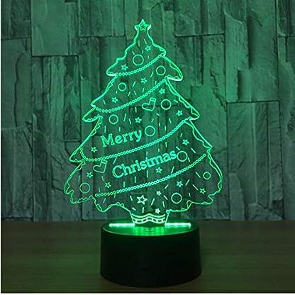 Luz De Noche Usb Árbol De Navidad Lámpara De Ilusión 3D Lámpara De Atmósfera Luz De Noche Usb Interruptor Táctil 7 Cambio De Color Luz De Dormitorio Decoración Del Hogar