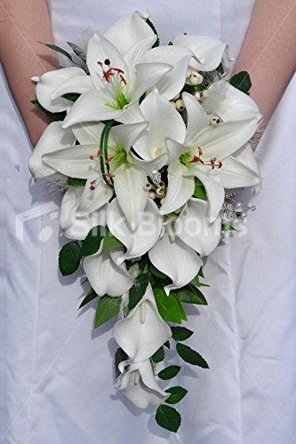 gorgeous-fresh-touch-white-oriental-lily-and-calla-lily-bridal-cascade-bouquet