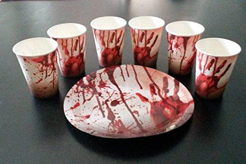 Becher Kostüm (8 Papp Becher 8 Papp Teller Halloween Ø 23cm Gruseln Schream Blut)