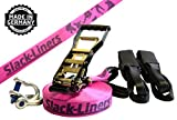 6 Teiliges Slackline-Set neon PINK - 50mm breit, 20m lang - mit Langhebelratsche - Slack-Liners - Made in Germany