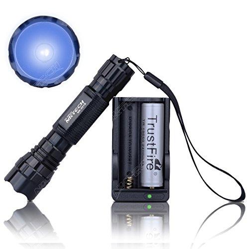 Preisvergleich Produktbild nktech nk-501b Ersatzinnenteil UV-LED 365NM violett Hintergrundbeleuchtung Taschenlampe Suche Camping Torch Head Light Lampe + 1Stück TrustFire 186502400mAh Akku + Dual Slot Ladegerät