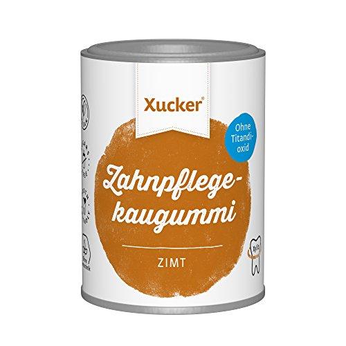 Xucker 100 g wiederverschließbare Kaugummipackung zuckerfrei ohne TiO2, Zimt - Zahnpflege für unterwegs - zuckerfrei, vegan, für saubere Zähne und frischen Atem - gesüßt mit Xylit (Kaugummi Zimt)