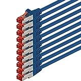 1aTTack CAT6PIMF SSTP Netzwerk Patch-Kabel mit 2x RJ45Stecker doppelt geschirmt 5Stück - blau - 10 Stück 1,0 Meter