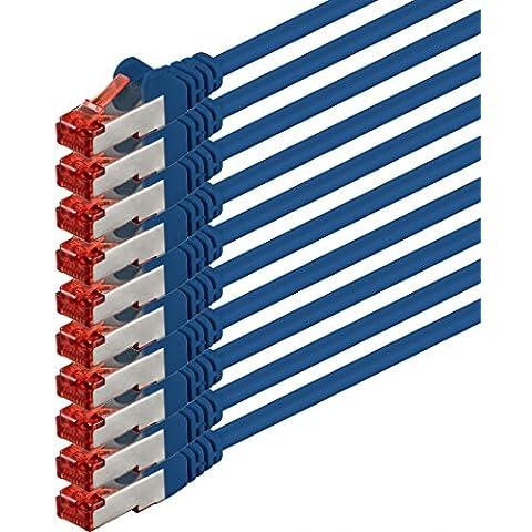 1aTTack - Cable de red SSTP PIMF con 2 conectores RJ45 de doble apantallamiento CAT 6 0 azul - 10 unidades 1