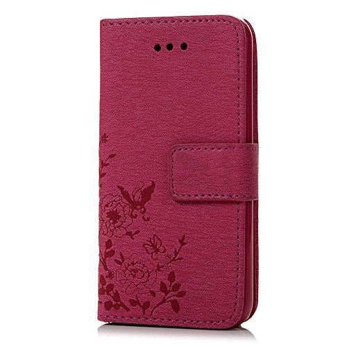 iPhone 5 / 5s /5G / SE Coque de Protection - Lanveni Housse Étui en [PU Cuir Portefeuille Support] Flip Phone Case avec[Fermeture Aimantée] Papillon et Fleurs - Menthe Vert Rose