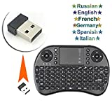 Mini Clavier Française, i8p 2.4GHz RF Touchpad Mouse Combo -Multi-media 3 en 1Portable Handheld Android Keyboard Multilingual output-pour PC Google Android Smart TV Box Media Mini TV PC Stick HTPC IPTV Laptop Raspberry PI 3 PS3 - French et Anglais layout (Noir)