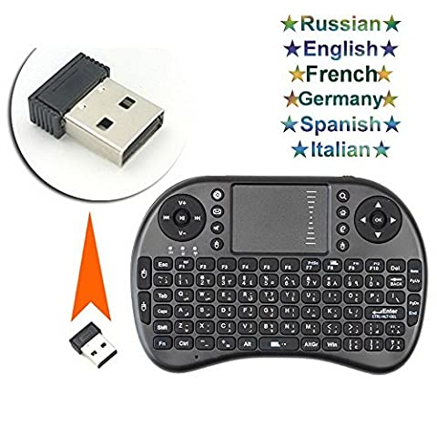 Mini Wireless Keyboard, i8p 2.4GHz RF Touchpad Mouse Combo -Multi-media 3 in 1Portable Handheld Android Keyboard Multilingual output-for PC Google Android Smart TV Box Media Mini TV PC Stick HTPC IPTV Laptop Raspberry PI 3 PS3 (Germany&English; Black)
