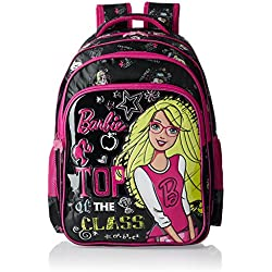 Barbie Polyester 18 Inch Black and Pink Children's Backpack (Age group :8-12 yrs)