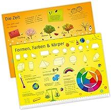Tischset mit Lerneffekt - 2in1 - Die Zeit & Formen & Farben - Platzset für Kinder