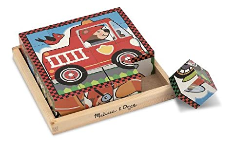 Melissa & Doug Vehicles Wooden Cube Puzzle With Storage Tray