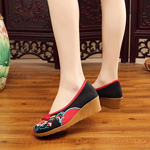 Icegrey Femme Mary Janes Fait Main Broderie Fleur Ballerine Chaussures Plat Chaussures Bateau Avec boucle Noeud Noir