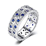 Jewelrypalace 0.5ct Creó Anillo Azul De Banda De Boda De Spinel 925 Plata De Ley Tamaño 11