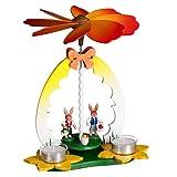 Osterpyramide Hasenkinderpaar – Osterdeko - Teelichtpyramide aus Holz – Tischpyramide - Osterhase – Handarbeit – Höhe 23 cm – Erzgebirge – Ostern