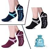 Muezna Yoga Socken Damen Frauen Mädchen rutschfest Atmungsaktiv Ideal für Yoga Pilates Tanz Fitness Sport Workout-Socken mit Baumwolle (Rot Schwarz Blau)