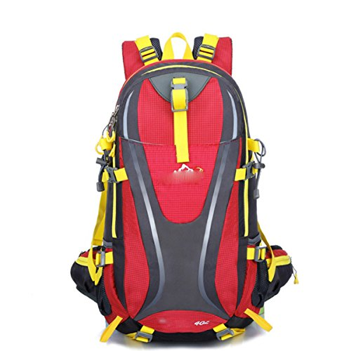 LQABW Oxford-Tuch Schulter Outdoor-Klettern Wandern Wasserdicht Reduziert Reduziert Bergsteigen Rucksack Tasche Red