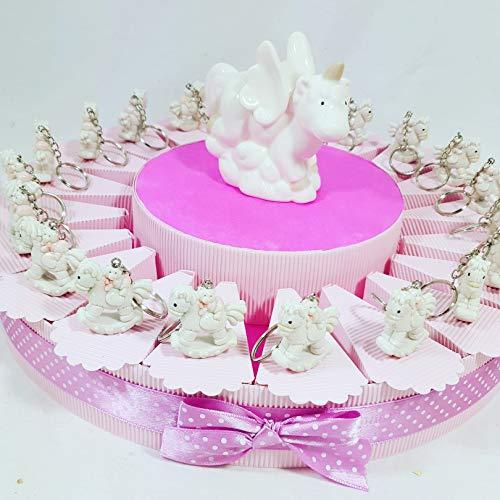 Torta bomboniera con cavalluccio con orsetto portachiavi e centrale unicorno + confetti rosa cioccolato crispo ... (torta 20 fette 1 piano a)
