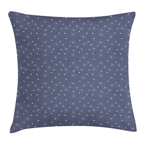 ERCGY Navy Blue Throw Pillow Cushion Cover, Summer Night Sky with Messy Little White Stars and Circles Fun Kids Design, Decorative Square Accent Pillow Case, 18 X 18 inches, Navy Blue White Navy Clara Slip