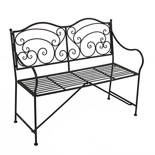 VARILANDO Gartenbank aus Metall im antiken Look Rost-Optik Vintage Metallgartenbank 2-Sitzer