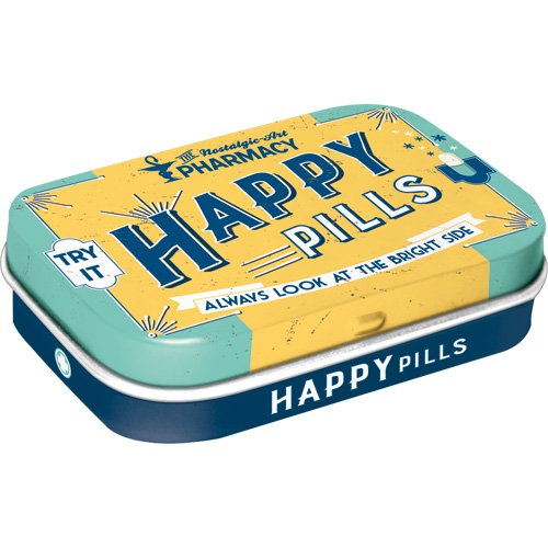 Nostalgic-Art 81330 Nostalgic Pharmacy - Happy Pills | Pillen-Dose | Bonbon-Box | Metall | mit Pfefferminz-Dragees
