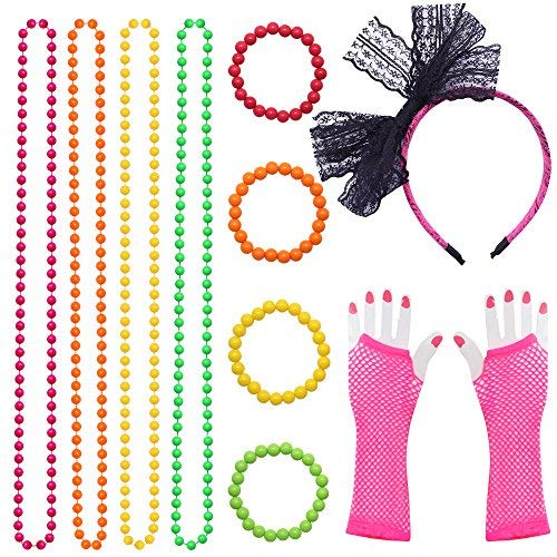 Dreamtop 80s Neon Necklaces and Bracelets Fishnet Gloves Bow Headband for 1980s Theme Party Supplies,Set of 11