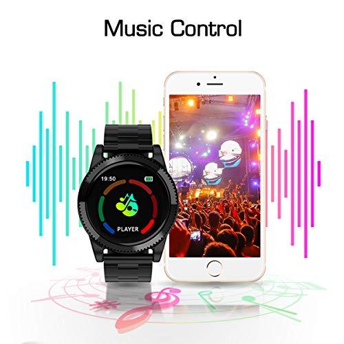 Smartwatch Herren, GOKOO Smart Watch Stylische IP67 Wasserdicht Sportuhren Männer Jungen Fitness Tracker Aktivitätstracker mit Pulsmesser Kalorienzähler Schlaftracker für Android IOS (Schwarz) - 5