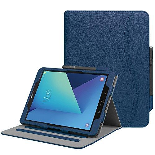 Fintie Hülle für Samsung Galaxy Tab S3 T820 / T825 (9,68 Zoll) Tablet - Multi-Winkel Betrachtung Kunstleder Schutzhülle Case Cover mit Dokumentschlitze und Auto Schlaf/Wach Funktion, Marineblau