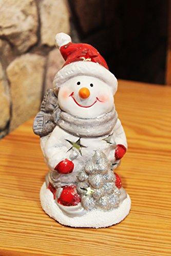 LED - FIGUR CHRISTMAS - FRIENDS , tolles LED - Licht für lange Winter - Advents - und Weihnachts - Abende, Hochwertig aus Keramik schön gefertigt - die perfekte Deko für Haus und Wohnung- Geschenk (SCHNEEMANN 15 cm)