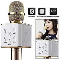 MULTIPLE Q7 Portable Multi-function Wireless Bluetooth Karaoke Microphone with Bluetooth Speaker for iOS and All Smartphone, Laptops and more (Gold)