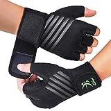 Qhui Fitness Handschuhe, Trainingshandschuhe Kraftsport Handschuhe mit Handgelenkschutz,...