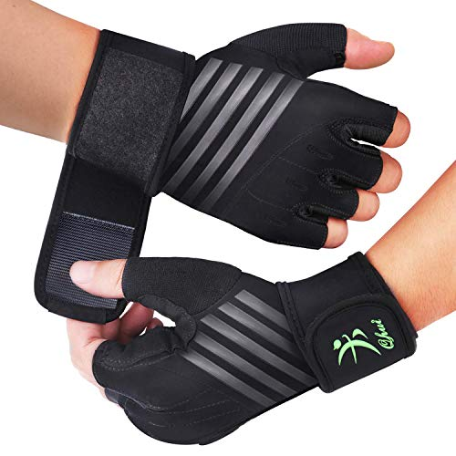 Qhui Fitness Handschuhe, Trainingshandschuhe Kraftsport Handschuhe mit Handgelenkschutz, Atmungsaktiv rutschfest Herren Sporthandschuhe für Gewichtheben, Bodybuilding, Krafttraining