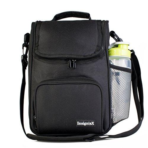 Sac Isotherme Repas: InsigniaX Thermos Lunch/Dejeuner Bag/Box Pour Les Hommes Femme Fille Garcon Bebe Enfant Travail Avec Tupperware Taille 25,4 x 13 x 23,3 cm (Grand, Noir)