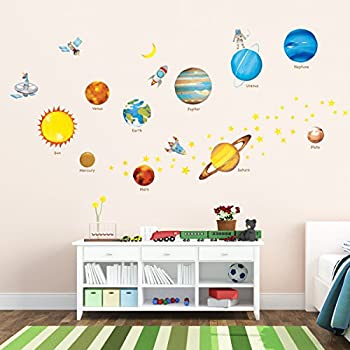 Decowall DW 1307 Planets In The Space Kids Wall Stickers Decals Peel And Stick