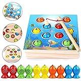 FOONEE Montessori Holzspielzeug, Magnetic Fishing Toys für Die Frühkindliche Bildung, Farben Zu Lernen, Eltern-Kind-interaktives Spiel für Jungen Mädchen über 10 Monate Alt