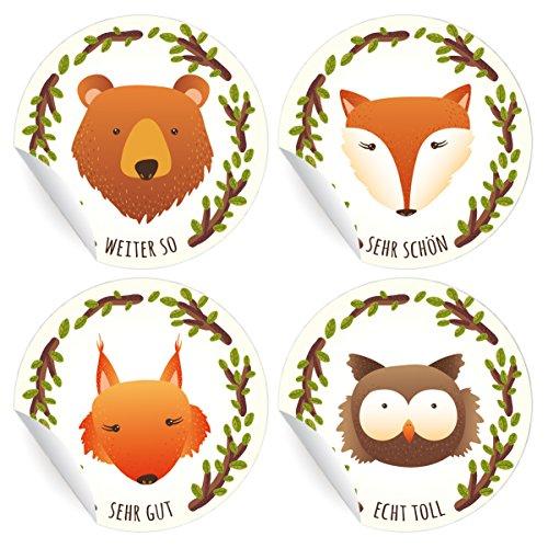 24 motivierende, niedliche Tier Aufkleber | Sticker mit Bär, Eule, Fuchs und Eichhörnchen, MATTE universal Papieraufkleber für Geschenke, Etiketten für Tischdeko, Pakete, Briefe und mehr (ø 45mm