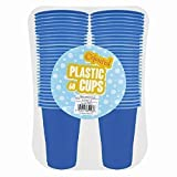 60x 170ml Plastic Disposable Party Cups- Coloured: Red, Yellow, Blue or Pink (Blue)