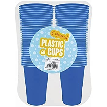 Plastic Disposable Party Cups- Coloured, 60x 170ml - Blue