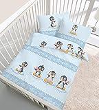 IDO Biber-Bettwäsche Baby Pinguin 40x60 / 100x135 cm eisblau OneSize