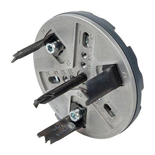 wolfcraft Lochsäge Universal 5985000 - Verstellbare Bohrkrone für den Akkuschrauber & die Bohrmaschine - Universell einsetzbar im Innenausbau für Gipsplatten & Holz - Ø 35, 50, 65, 68, 74 & 80mm