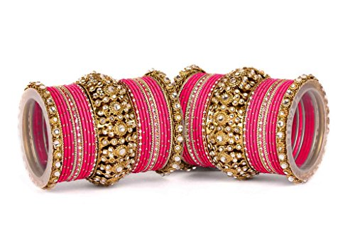 Beautiful pink dot bangle set for two hands by Leshya