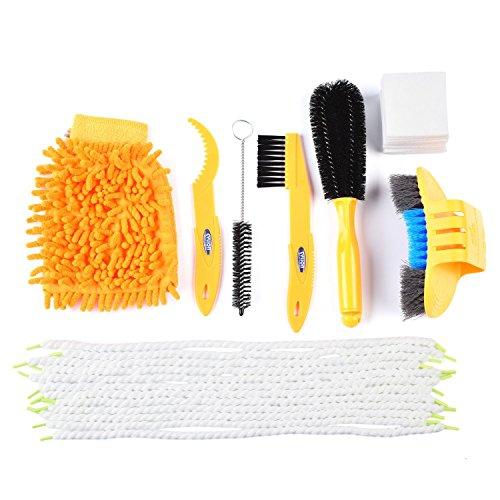 SehrGo-Spazzola-per-pulizia-bici-Sehrgo-Tool-kit-set-con-Gear-Floss-corda-in-microfibra-e-tessuti-multi-funzione-bici-catena-strumento-di-pulizia-Chain-Cleaning-Brush-Set