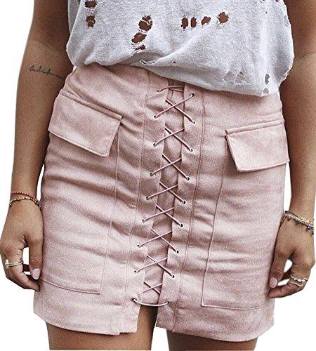 Damen Lady 50er Pink Kostüm Jahre (Minetom Damen Frühling Sommer Reizvolle Lace-Up Minirock Frauen Beiläufige Dünner Wildleder Bandage Kurzer Rock Mit Taschen Skirt Rosa EU)