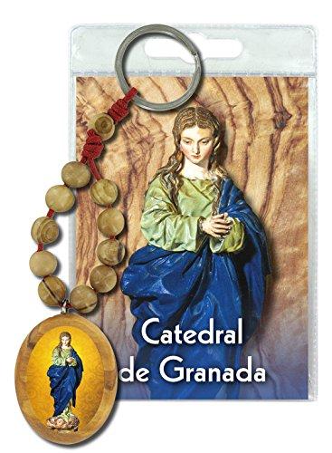 Ferrari & Arrighetti Llavero Virgen de Granada con decenario en Madera de Olivo y oración en español