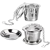 Ollimy Tea Ball Infuser Set Stainless Steel Coffee Strainer & Steeper for Loose Left Tea with Drip Trays (Set of 2)